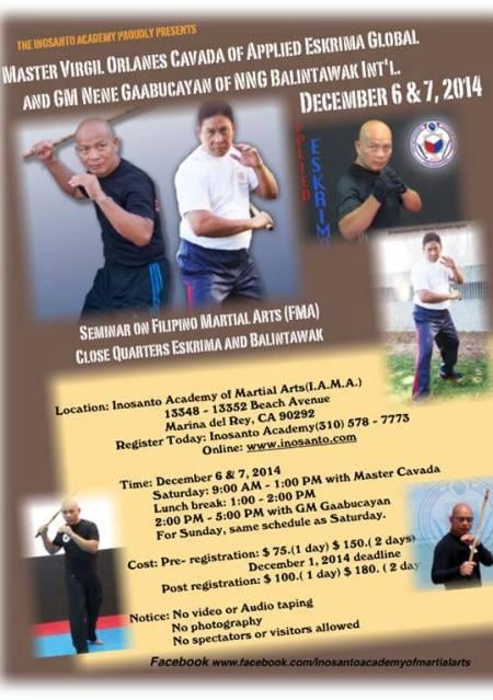 Master Virgil Cavada and GM Nene Gaabucayan Balintawak Seminar 2014Master Virgil Cavada and GM Nene Gaabucayan Balintawak Seminar 2014
